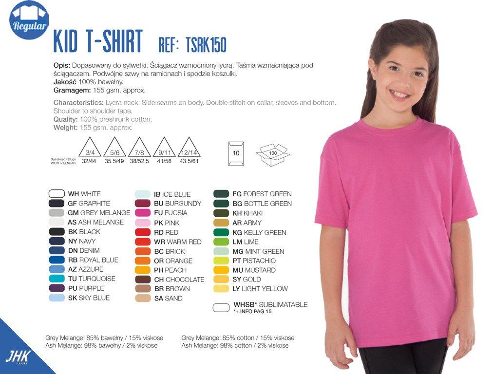T Shirt Gładki Młodzieżowy 26 KOLORÓW