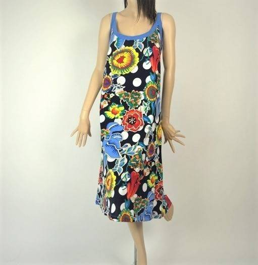 e1d99cad3e Sukienka Plażowa Bawełna KWIATY KOLOR I GROCHY L - Sukienki ...