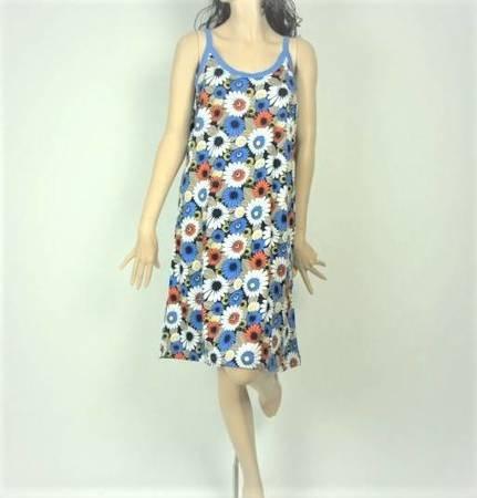 Sukienka Plażowa Bawełna MARGARETKI BLUE S