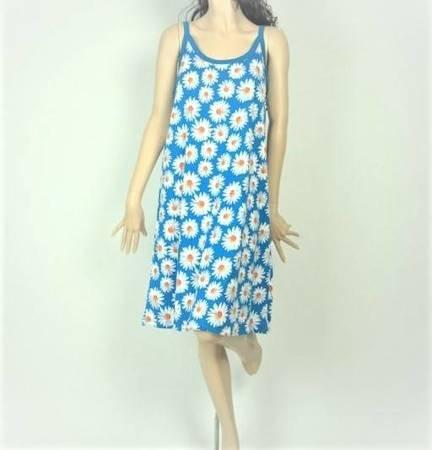 Sukienka Plażowa  Bawełna STOKROTKI BLUE L