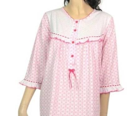 koszula nocna tradycyjna 3/4 ręk. MOZAIKA RÓŻ