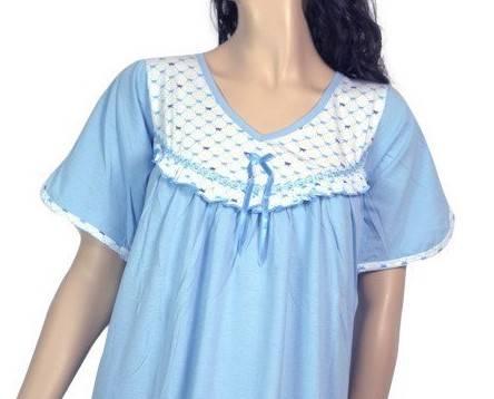 koszula nocna tradycyjna kr. ręk. GŁADKA BĘKIT