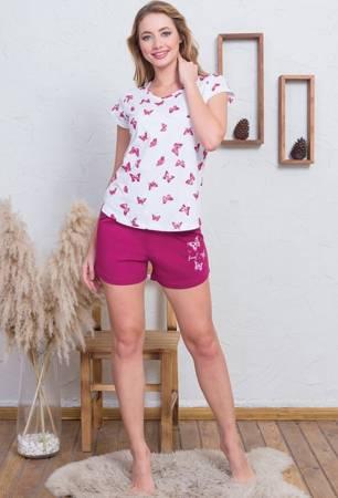 piżama damska MOTYLKI biały/bordowy S/36