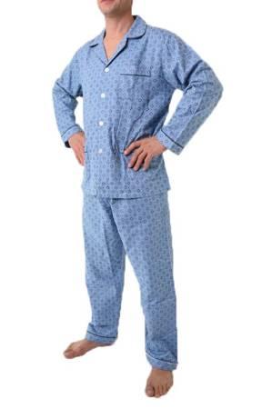 piżama męska flanelowa ODCIENIE NIEBIESKIEGO M-5XL