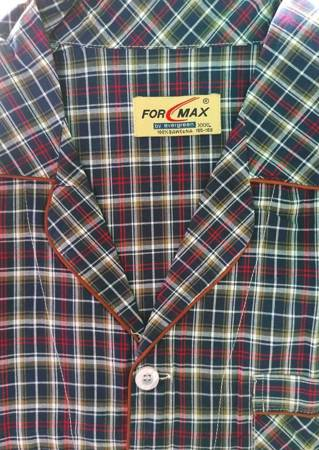 piżama męska rozpinana KRATKA GRANAT/BORDO M-5XL